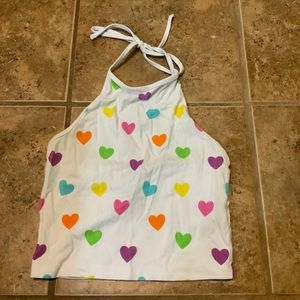 Colorful Heart Halter Tank Top